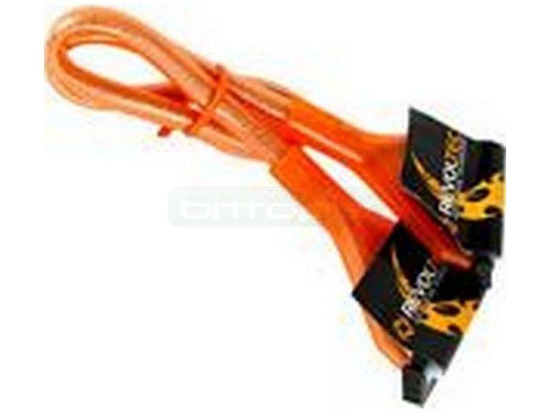 Revoltec RC030. Cable Floppy redondo, UV Naranja,48cm