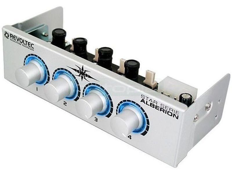 Revoltec RL002. Regulador de Ventilador 5.25 plata ALBERION - Regulador de 4 canales fabricado en aluminio que permite determinar las velocidades a través de sus potenciómetros retroiluminados en color azul.
