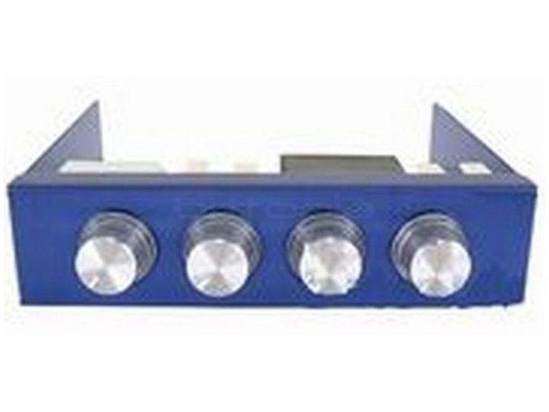 Revoltec RL019. Regulador de Ventilador 3.5, 4-canales, azul - Regulador azul para 4 ventiladores fabricado en aluminio de diseño elegante y llamativo. Con una característica singular: sus botones retroiluminados varían de color (rojo) con la tensión de salida.