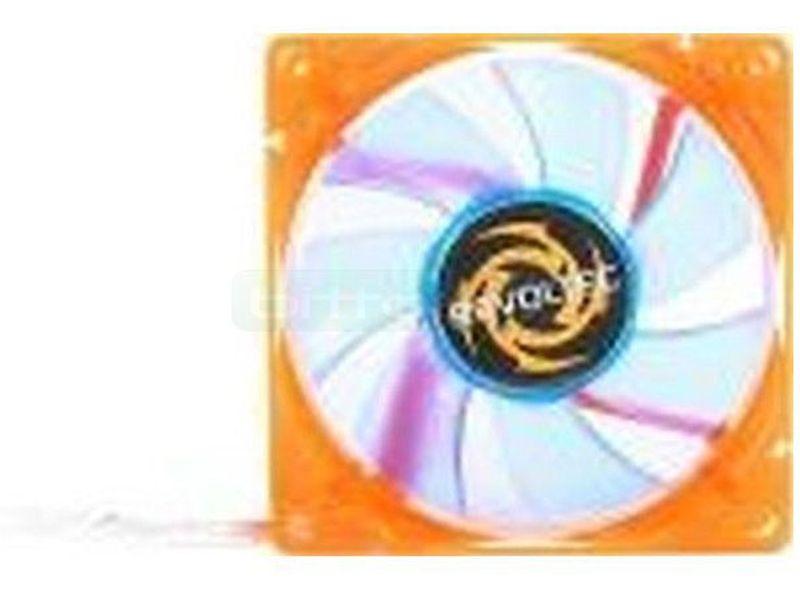 Revoltec Ventilador-LED UV naranja y palas azules - Ventilador de color UV con 4 LEDs de luz en medida de 80x80mm. Crean efectos de luz muy originales y suaves.