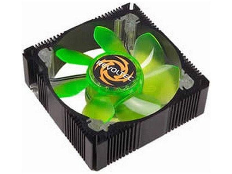 Revoltec Ventilador de Metal con Neón - Ventilador 80x80mm de caja fabricado en aluminio negro y 4 LEDs de luz de color.