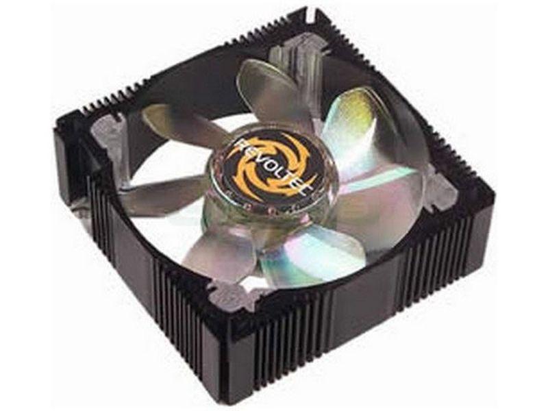 Revoltec Ventilador de Metal, Azul - Ventilador 80x80mm de caja fabricado en aluminio negro y 4 LEDs de luz de color.