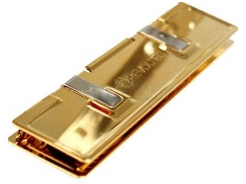 Revoltec RS010. Disipador de memoria Gold Edition - Fabricado en cobre dorado (capa de oro de 24k), compatible con modulos SDRAM y DDR.