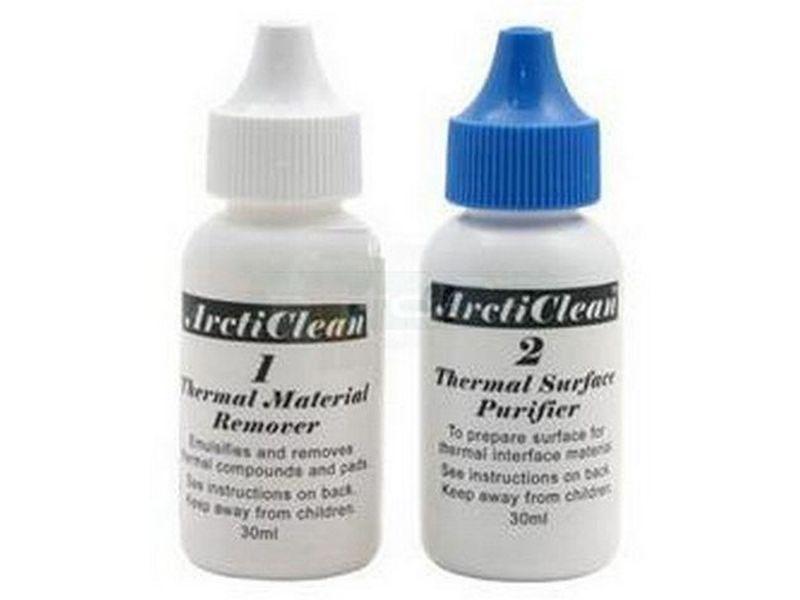 Arctic Clean 1&2 60ml. Liquido limpiador - Eficiente limpiador compuesto por dos líquidos, el primero limpia cualquier superficie, y el segundo, la purifica y evita la corrosión en el cobre y el aluminio.