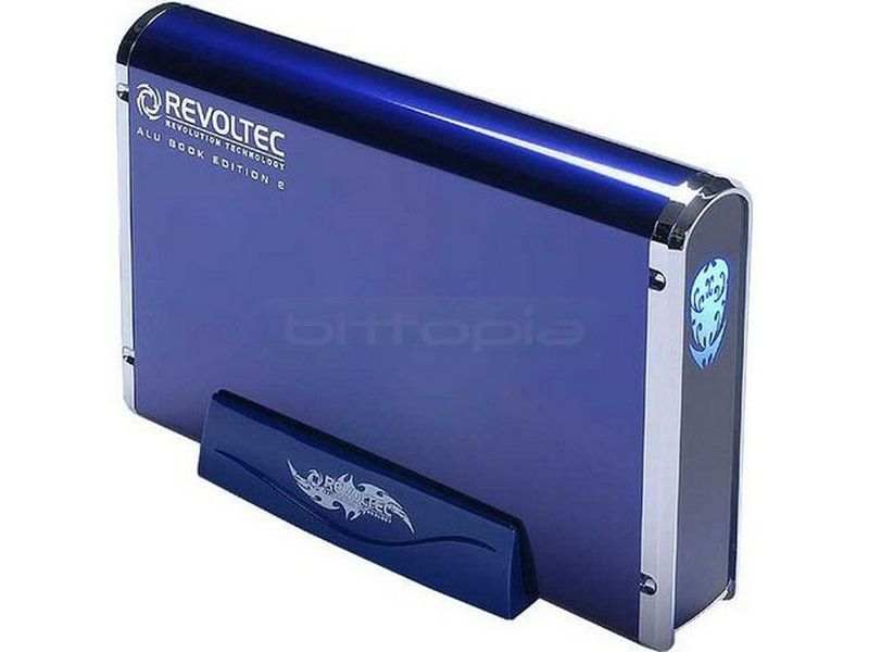 Revoltec RS037.  AluBook 2 SATA Azul de 3.5 USB-eSATA - Caja para disco duro SATA de 3,5. Conexión USB 2.0 y eSATA. Fabricada en aluminio.