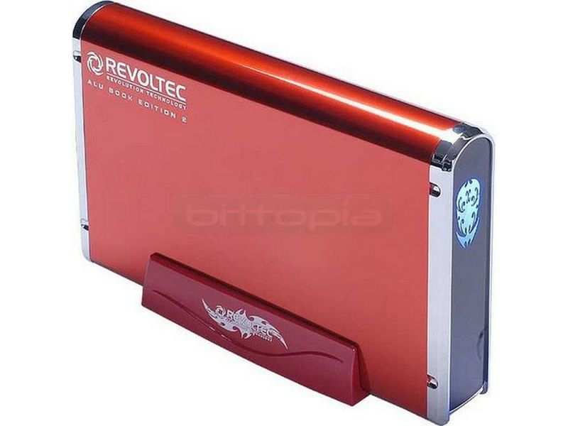 Revoltec RS038.  AluBook 2 SATA Roja de 3.5 USB-eSATA - Caja para disco duro SATA de 3,5. Conexión USB 2.0 y eSATA. Fabricada en aluminio.