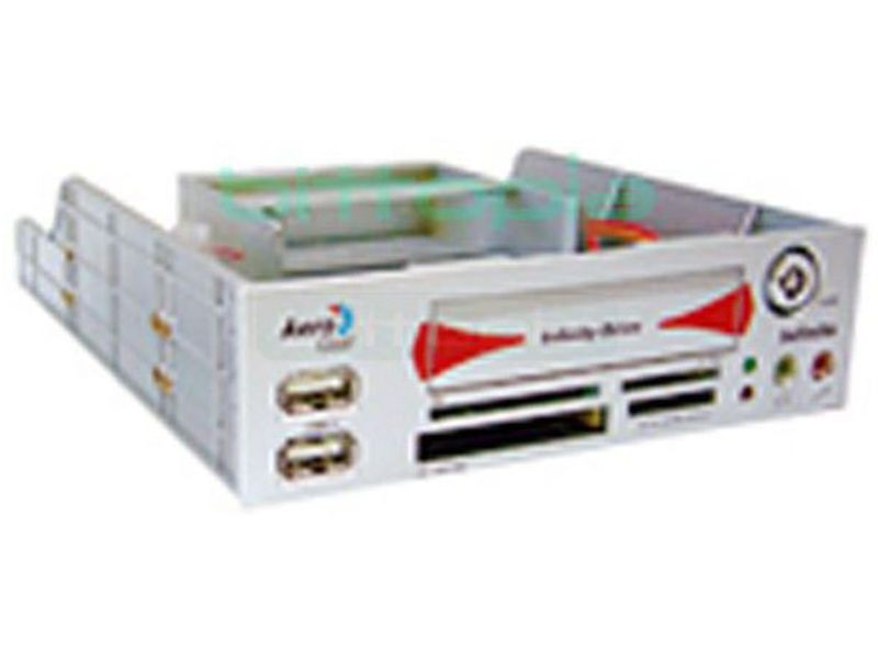 Aerocool Infinite Silver - Frontal de 5.25 en color plata con funciones de lector de tarjetas, salidas extra y módulo extraíble para un disco duro de 2.5  IDE.