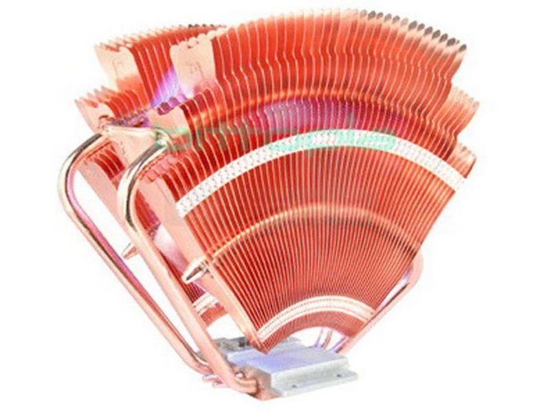 Thermaltake V1 - Fabricado completamente en cobre y diseñado en forma de abanico. Compatible con socket 775, 1366 (con un kit opcional) y 754, 939, 940, AM2.