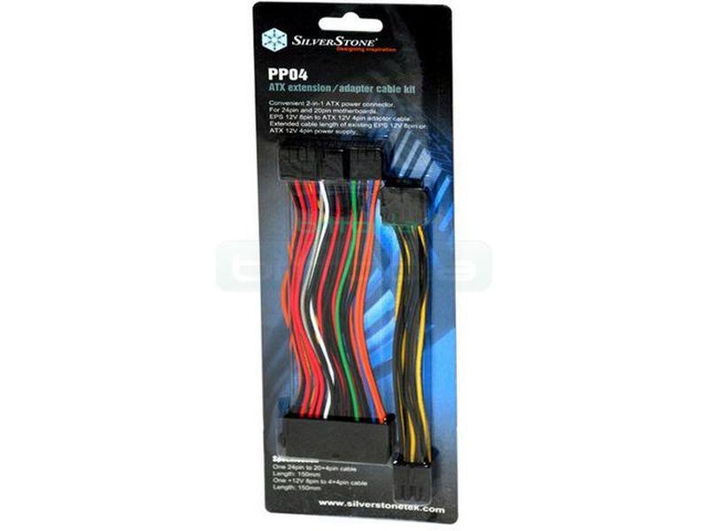 SilverStone PP04. Cable Adaptador para F.A. De 20 a 24 Pin - Adaptador 20 - 24 pines más extensor 12v.  15 cm
