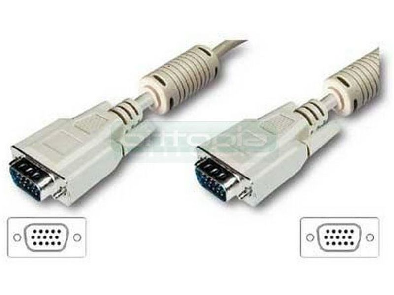 OEM Cable Monitor VGA Macho-Macho 5 metros - Cable de alta calidad de 5m incluye 2 ferritas anti-interferencias. Premium HPDB SVGA 15 pines.