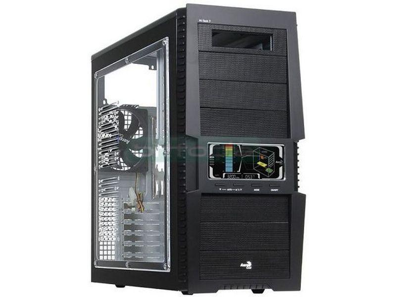 Aerocool V-Touch A con ventana - Compatible con placas ATX/Micro-ATX. Incluye lateral de ventana y un sistema de monitorización y control de 3 ventiladores y sus componentes asociados (CPU, VGA e interior de la caja)