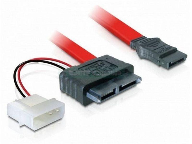 OEM Cable SATA Slimline 7+6 pin 5V - Cable adaptador SATA Slim a Molex 5.25 y SATA estándar. para unidades slim.