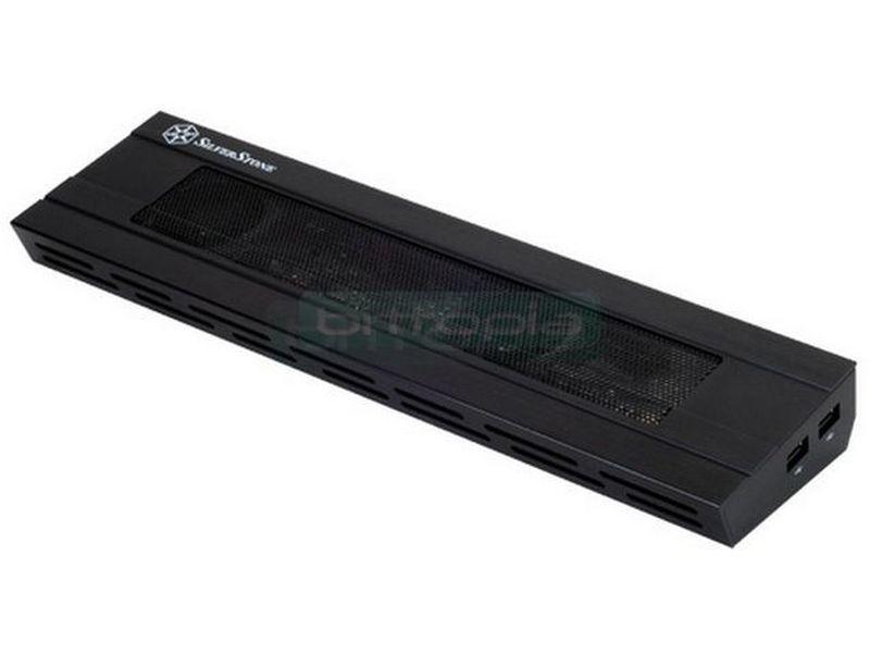 Silverstone NB02B. Cooler para portatil - Refrigerador multifuncional para ordenador portátil que combina conexión en red, entrada/salida estéreo y conectividad USB en un solo producto.