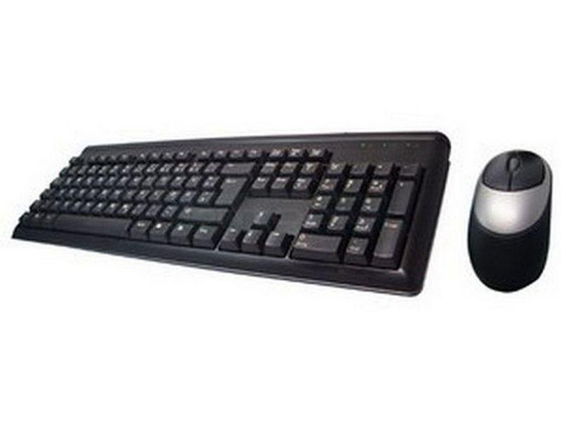 Perixx 101 Combo Teclado + Ratón - Teclado negro + ratón óptico negro/plata, ambos con cable PS/2