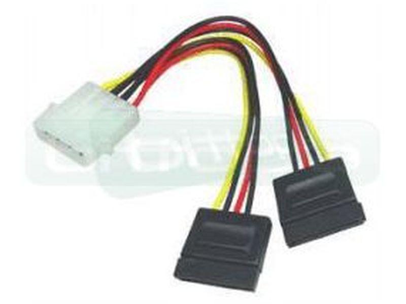 OEM Adaptador Molex 4 Pin a 2 x alimentación SATA - Cable ladron Molex 5.25 a 2xSATA-Power de 150mm. Molex macho / SATAs hembras.