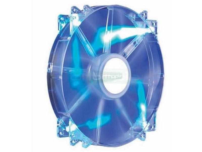 Cooler Master MegaFlow 200x200x30 Luz Azul - El uso de ventiladores de grandes dimensiones con funcionamiento silencioso y bajas revoluciones, suele ser la solución óptima para los equipos de alta gama. Añade refrigeración extra a las tarjetas gráficas cuando se instala en el lateral de la caja.
