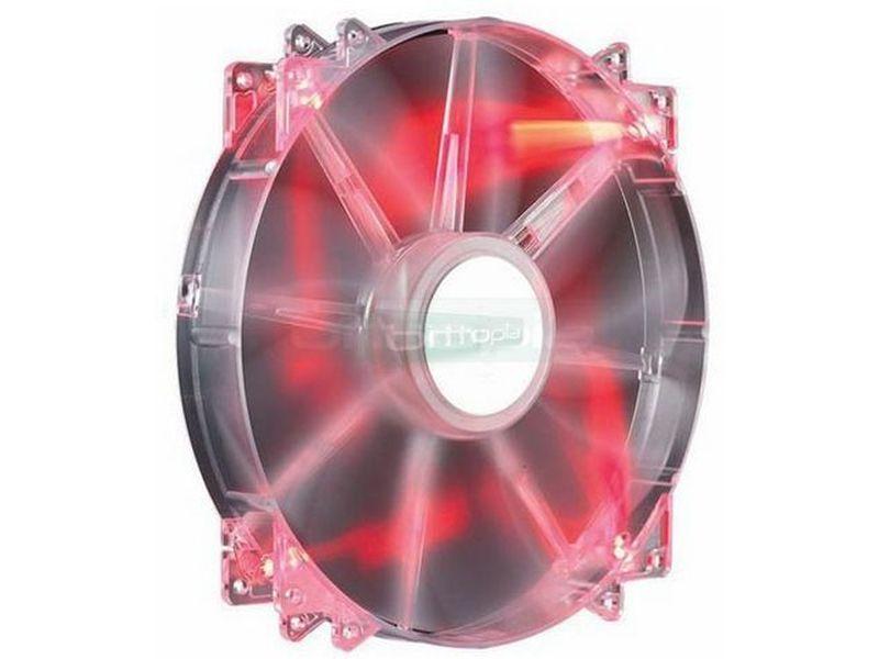 Cooler Master MegaFlow 200x200x30 Luz Roja - El uso de ventiladores de grandes dimensiones con funcionamiento silencioso y bajas revoluciones, suele ser la solución óptima para los equipos de alta gama. Añade refrigeración extra a las tarjetas gráficas cuando se instala en el lateral de la caja.