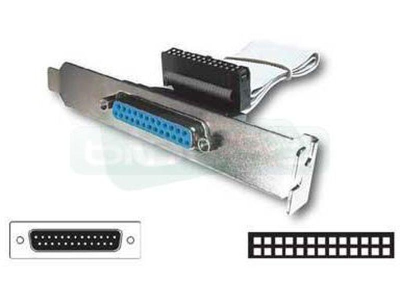 OEM Bracket 1 puerto paralelo DB25H a placa 26pin - Bracket para Slot PCI con conector DB25 hembra externo y conector de 26 pines interno