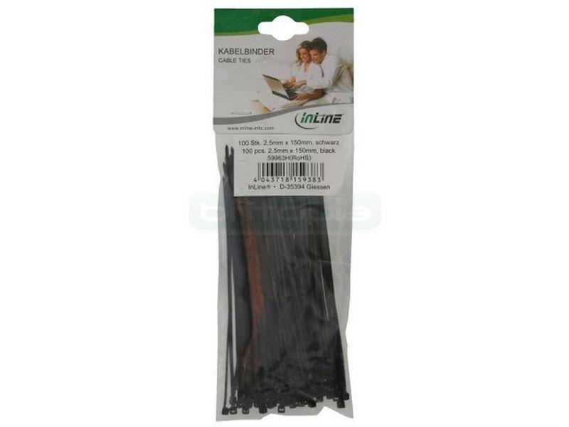 Bolsa 100 bridas negras 200mm(largo)x4,8mm(ancho)