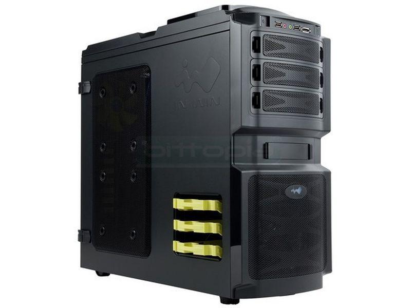Inwin BUC 666 - Diseño muy original con muchos detalles avanzados y gran capacidad de refrigeración. Acceso lateral directo a discos duros hotswap protegido por llave. Su aspecto no engaña: se trata de una caja muy robusta.