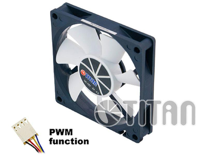 Titan 80x80x15 13a35 dBa PWM - Ventilador en medida de 80mm PWM para caja. Nos ofrece una inmejorable refrigeración. Se caracteriza por integrar rodamientos especializados para dotarle de una larga vida útil. Dispone de control PWM.
