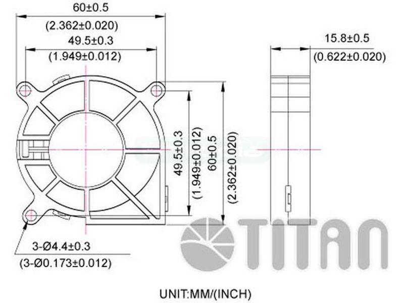 TITAN Blower 60x60x15 32 dBa - Ventilador radial de titanio en medida de 60mm optimizado para la aplicación tipo