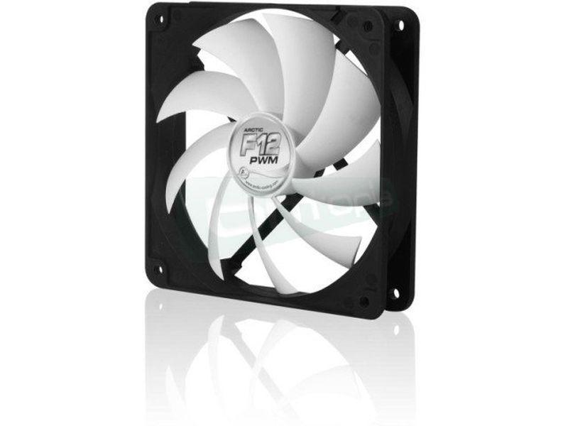 Arctic Cooling F12 120x120x25 PWM - Ventilador de 120mm con el marco negro y las aspas en color blanco. Función PWM.