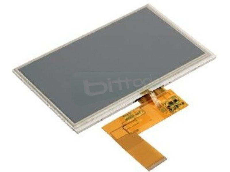 Monitor Táctil 7pulg. Open con conector ZIF de 40 Pines - Pantalla TFT-LCD con 800 x 480pixels de resolución. Especialmente diseñado para la placa ARM SAM9G45.