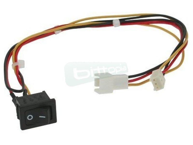 OEM cable con interruptor para ventilador 3Pin - Alargador con interruptor del cable de alimentación para ventiladores de 3-Pin. 25cm.