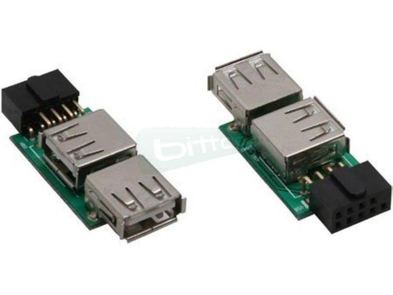 Adaptador interno USB2.0 a 2xUSB 2.0 - Adaptador interno para conectar el cable USB 2.0 externo de la caja al conector USB 2.0.