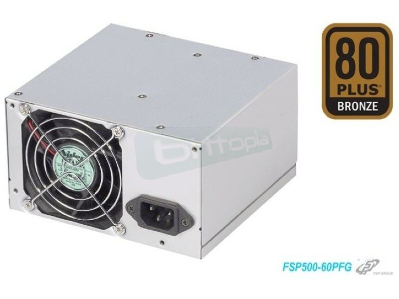 FSP ATX 500W 80Plus Bronze ventilación trasera - F. Alimentación 500W 80+ Bronze. Ventilador trasero de 80mm. ATX.