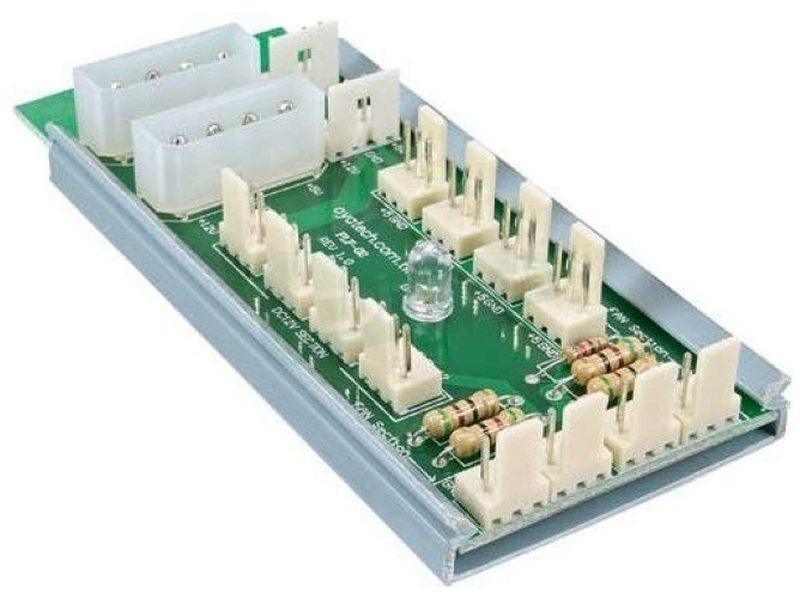 Inline 33008 Alimentador 12 ventiladores - Accesorio para la conexión de 12 ventiladores de 3 pines, mediante la conexión de dos conectores de alimentación de 4 pines (5,25