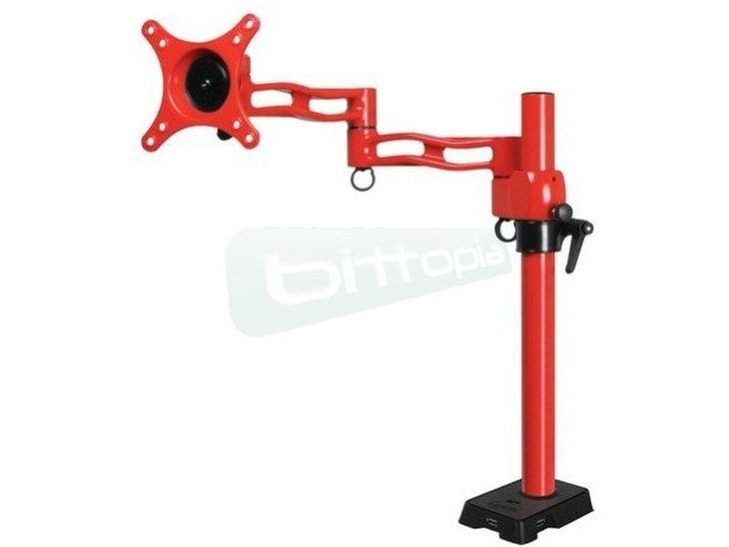 Brazo para 1 monitor Arctic Z-1 Rojo con Hub USB 4 puertos - Soporte para monitor, tipo poste de color rojo. Especialmente diseñado para maximizar su espacio de trabajo con una flexibilidad total.