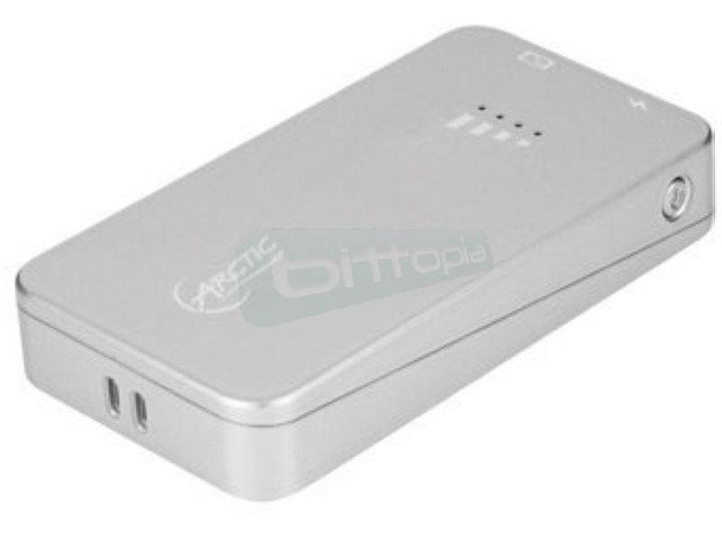 Arctic Power Bank 2000 Plata - Cargador para dispositivos con conexión Micro-USB. Fabricado en plástico de color plata.Batería 2000mAh.