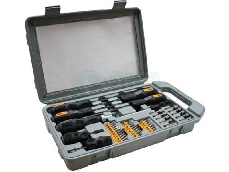 Inline 43077. Kit de destornilladores 45 piezas - Completo set de destornilladores. 3 Destornilladores Phillips. 3 Destornilladores Planos. Alargador magnético. 27 puntas de aprite y 10 puntas llaves Allen.