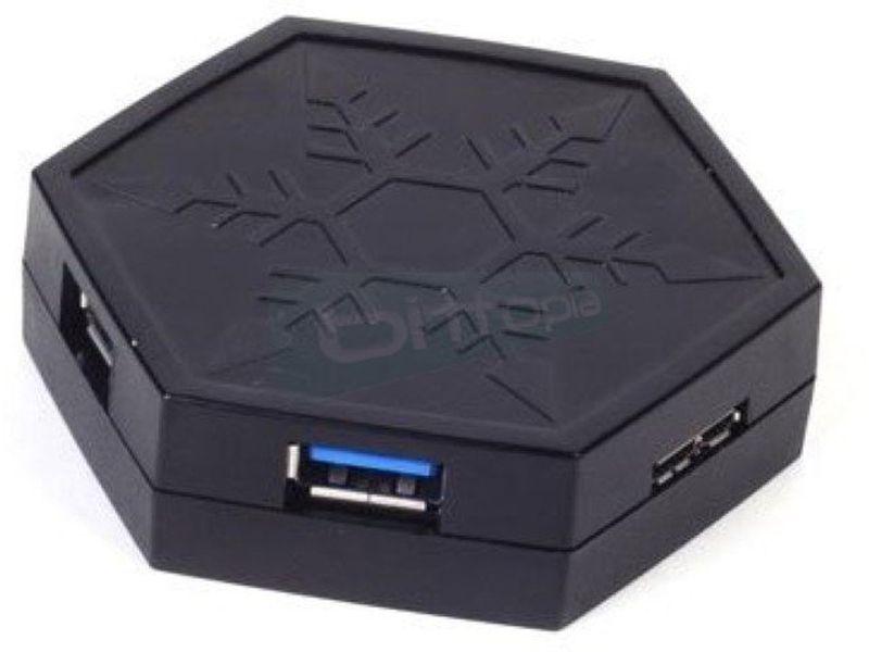 Silverstone EP01B: HUB USB 3.0 + power charger - Hub 4 puertos USB 3.0 negro. 1 puerto Micro-USB B. 65gr.