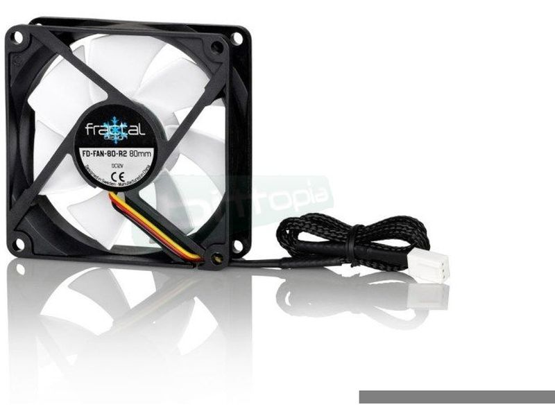 Fractal Design Silent Series R2 80x80x25 - Ventilador de 80mm. 1400RPM. 14,3dBA. 19,5CFM. 3-pin.