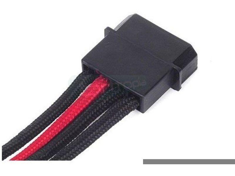 SilverStone PP07-BTSBR. NegroRojo. Extensor alimen - Cable alargador alimentación. De Molex 4-pines a 4 SATA. En color negro y rojo.