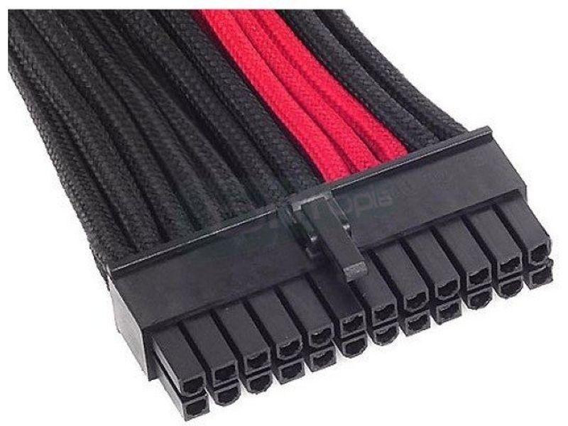 SilverStone PP07-MBBR. NegroRojoExtensor alimentac - Alargador cable alimentación 24-pin. 300mm. En color negro y rojo.