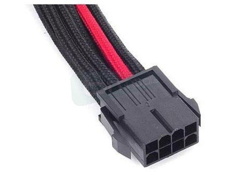 SilverStone PP07-PCIBR. NegroRojo. Extensor alimen - Cable alargador alimentación placa base conector 8-pin a 8-pin(6+2). En color negro y rojo.