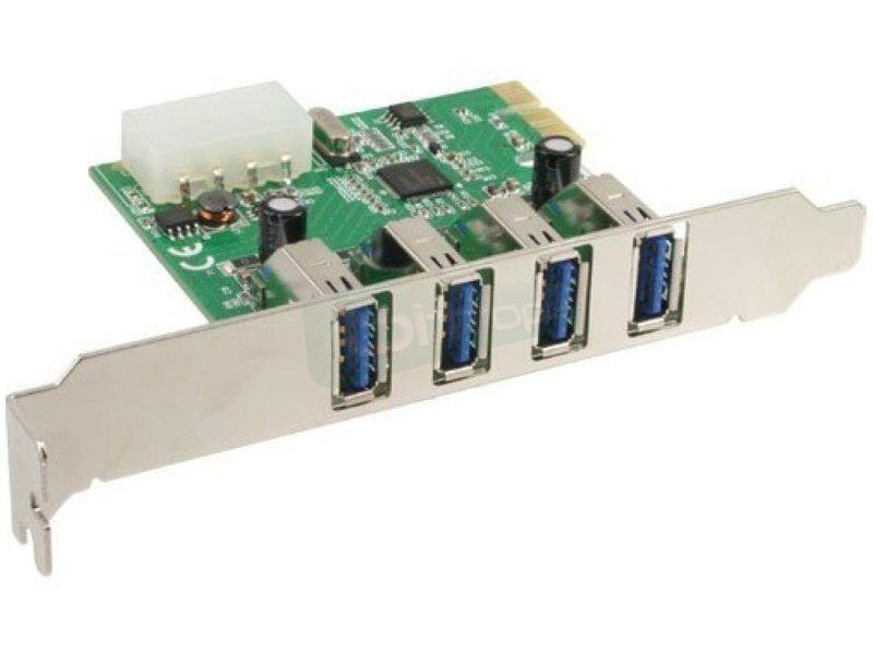 Inline 76661I. Tarjeta PCIeX1 4xUSB3.0 - Tarjeta de expansión PCIe con cuatro puertos USB 3.0 traseros.