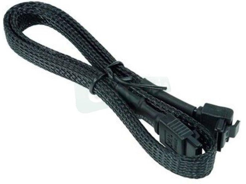 Phobya SATA 3.0 90º 45cm Cierre de Seguridad - Cable con certificación SATA 3.0 enmallado en nylon negro con cierre de seguridad y ángulo en  90º