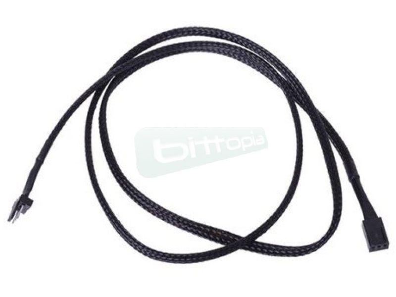 Phobya Alargo 3pin 90cm Sleeve Negro - Alarga la conexión de tus dispositivos de 3-Pin. Longitud 90cm.