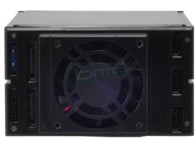 Backplane SATA/SAS 2x5.25 para 3x2.5 HDD - Módulo para 3 discos de 3.5 que ocupa dos bahías libres de 5.25. Ventilador trasero de 70mm.