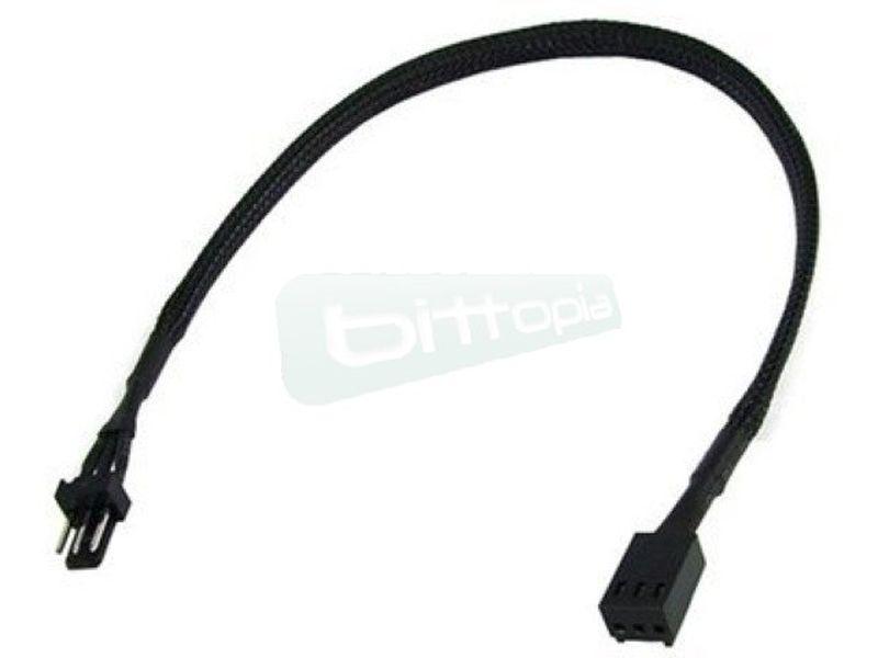 Phobya Alargo 3pin 30cm Sleeve Negro - Alarga la conexión de tus dispositivos de 3-Pin. Longitud 30cm.