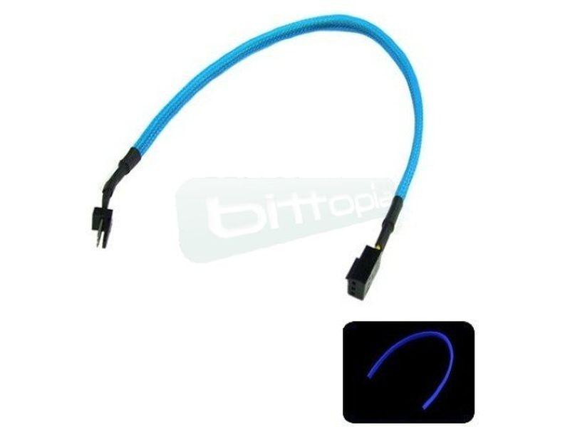 Phobya Alargo 3pin 30cm Sleeve Azul UV - Alarga la conexión de tus dispositivos de 3-Pin. Longitud 30cm.