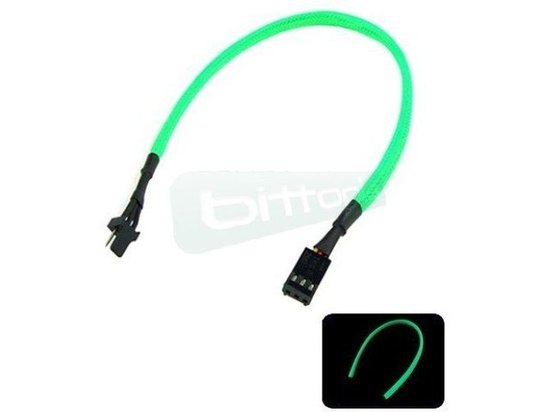 Phobya Alargo 3pin 30cm Sleeve Verde UV - Alarga la conexión de tus dispositivos de 3-Pin. Longitud 30cm.
