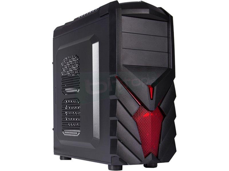 BL PC Gamer caja Negra PG1137 USB 3.0 - Caja Semitorre en color negro con detalles rojos en el frontal. Conexiones: 1 x USB 3.0. 2 x USB 2.0 y AudioHD. 7 x PCI. 3 bahías externas 5.25. 2 bahías internas 3.5/2.5.