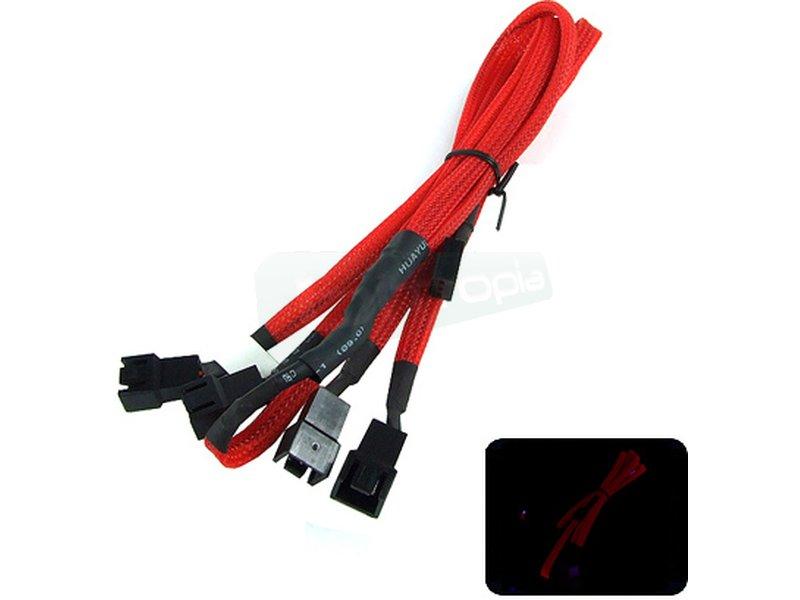 Phobya Ladrón x4 Molex 3-pin 60cm Rojo - Cable ladrón con 4 conexiones de 3pin enmallado en color rojo UV. Longitud 60cm.