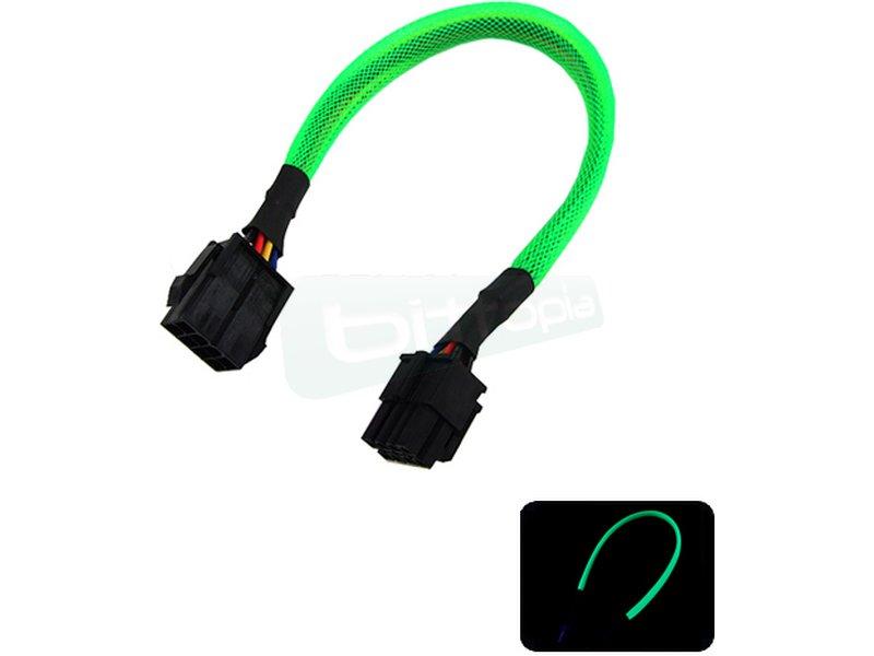 Phobya alargador ATX12V 8Pin 30cm Verde UV - Alarga la conexión de tus dispositivos de 8-Pin ATX12V. Longitud 30cm.